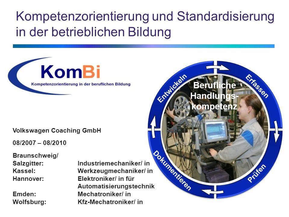 Kompetenzorientierung und Standardisierung in der betrieblichen Bildung Entwickeln Erfassen Prüfen Dokumentieren Berufliche Handlungs- kompetenz Volks