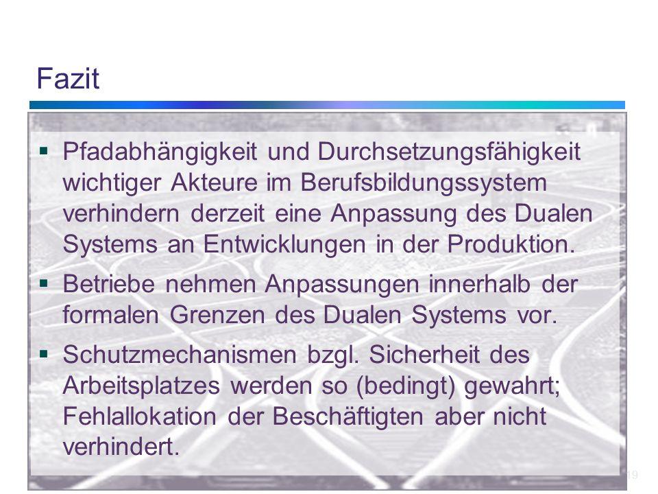 19 Fazit Pfadabhängigkeit und Durchsetzungsfähigkeit wichtiger Akteure im Berufsbildungssystem verhindern derzeit eine Anpassung des Dualen Systems an Entwicklungen in der Produktion.