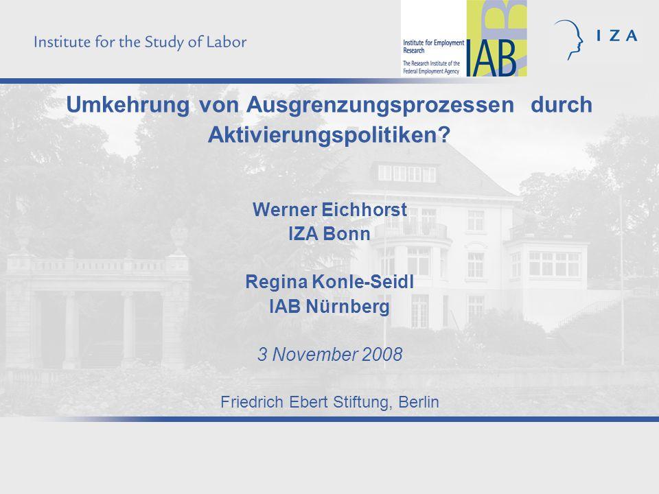 2 Impulsreferat III – Aktivierung Ist Beschäftigung die beste Strategie gegen Armut und soziale Ausgrenzung.