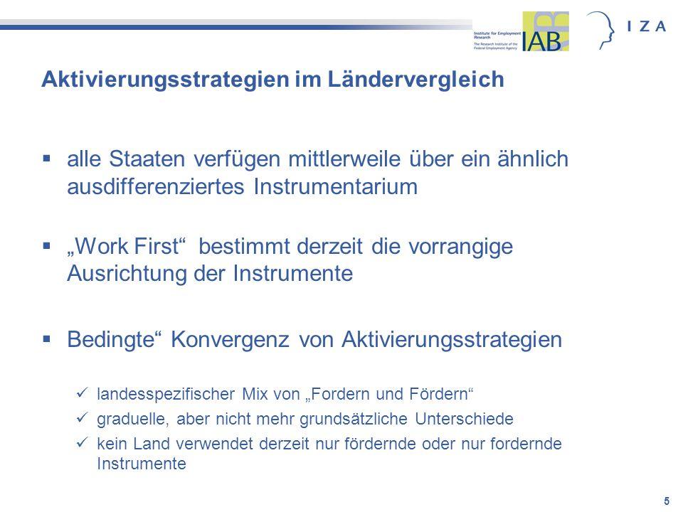 6 Der Instrumentenkasten der Aktivierung In Staaten mit ausgebauter Arbeitsmarktpolitik und großzügiger Arbeitslosenunterstützung Leistungen (v.