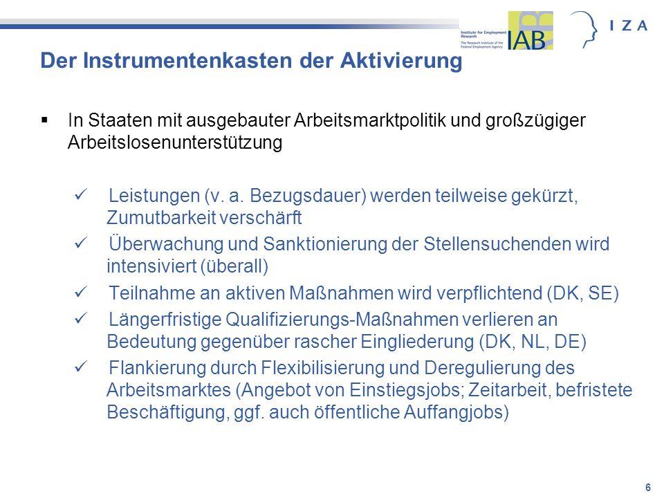 17 Schlussfolgerungen für Deutschland Rückkehr zu einer rein kompensatorischen Sozialpolitik (mehr Geld) wäre falsche Antwort Aktivierung (kurativ) ist ohne Alternative über die Perspektive einer schnellen Erwerbsintegration hinaus müssen Work First Strategien ergänzt werden 1.um die Überwindung von Aktivierungs-, Niedriglohn- und Einstiegsjobfallen 2.Integrierte Strategie zur Förderung von Qualifikationen und Beschäftigungsfähigkeit (Bsp.
