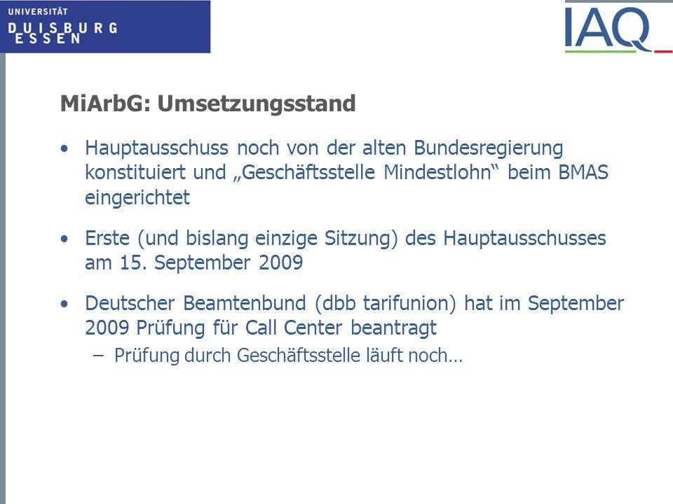 MiArbG: Umsetzungsstand Hauptausschuss noch von der alten Bundesregierung konstituiert und Geschäftsstelle Mindestlohn beim BMAS eingerichtet Erste (u