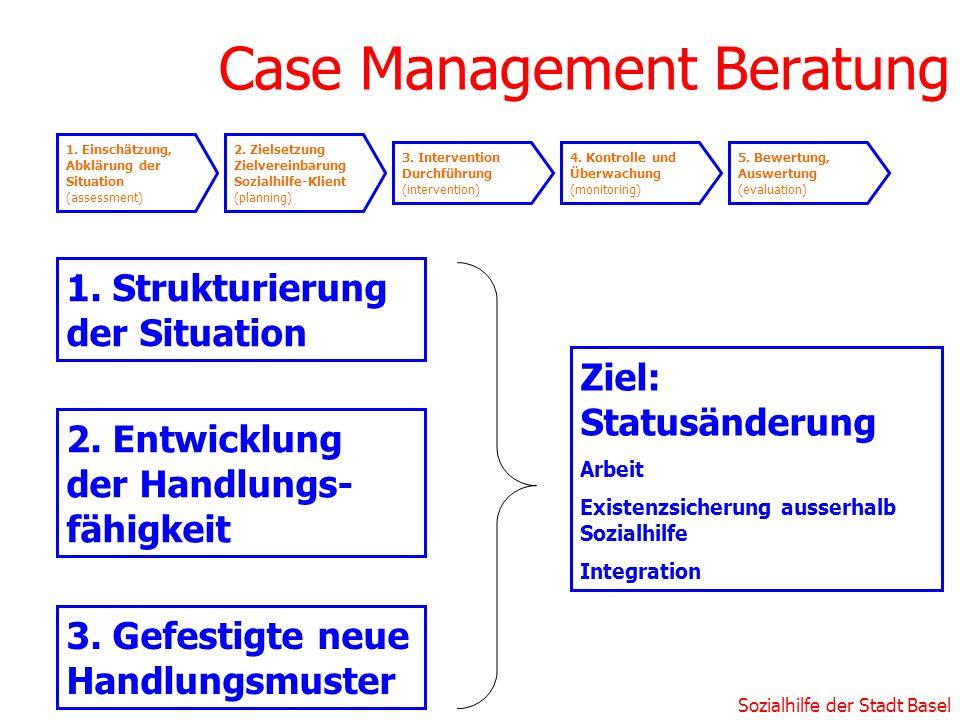 Sozialhilfe der Stadt Basel Case Management Beratung 1. Strukturierung der Situation 3. Gefestigte neue Handlungsmuster 2. Entwicklung der Handlungs-