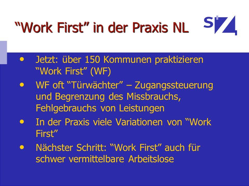 Work First in der Praxis NL Jetzt: über 150 Kommunen praktizieren Work First (WF) WF oft Türwächter – Zugangssteuerung und Begrenzung des Missbrauchs,