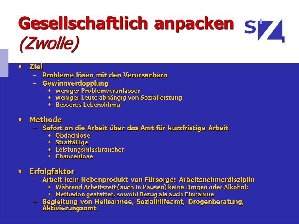Gesellschaftlich anpacken (Zwolle) Ziel Ziel –Probleme lösen mit den Verursachern –Gewinnverdopplung weniger Problemveranlasser weniger Problemveranla