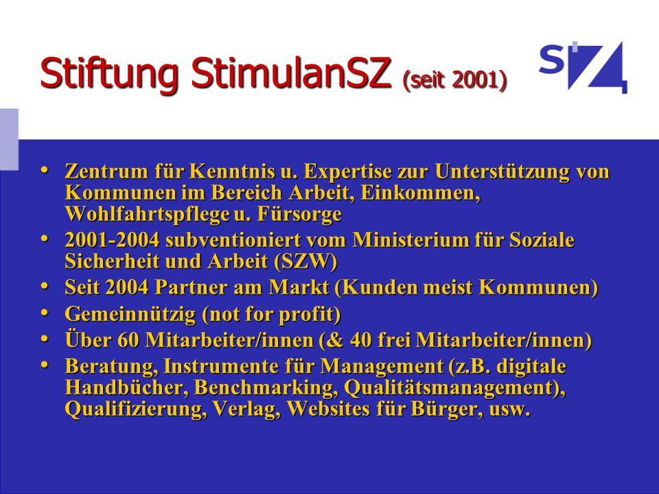 Stiftung StimulanSZ (seit 2001) Zentrum für Kenntnis u. Expertise zur Unterstützung von Kommunen im Bereich Arbeit, Einkommen, Wohlfahrtspflege u. Für