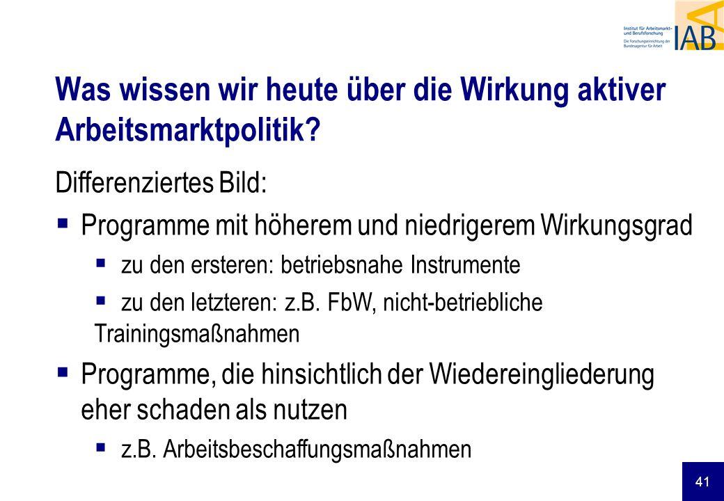 41 Differenziertes Bild: Programme mit höherem und niedrigerem Wirkungsgrad zu den ersteren: betriebsnahe Instrumente zu den letzteren: z.B. FbW, nich