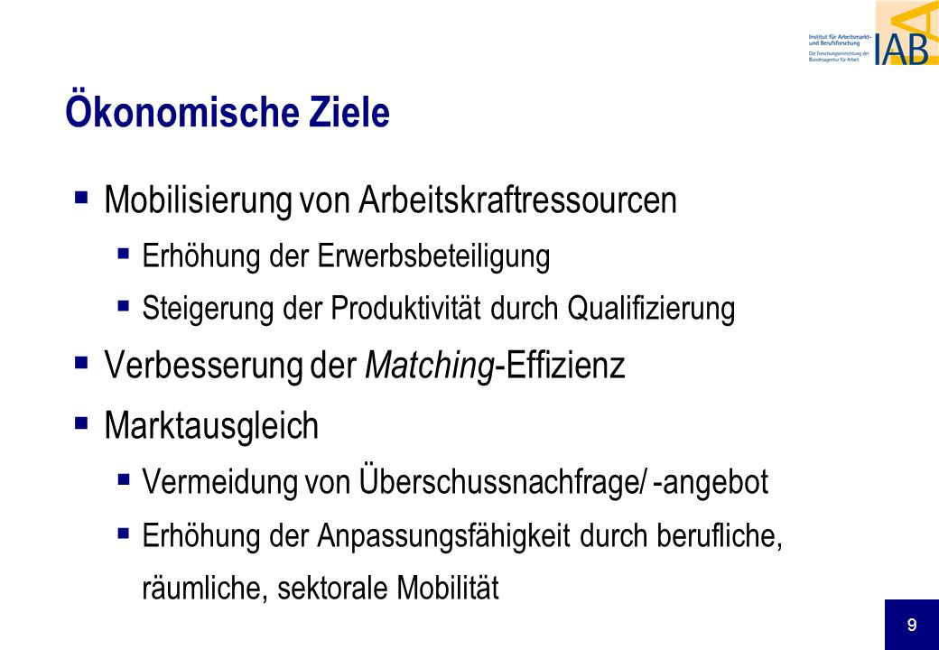 9 Ökonomische Ziele Mobilisierung von Arbeitskraftressourcen Erhöhung der Erwerbsbeteiligung Steigerung der Produktivität durch Qualifizierung Verbesserung der Matching -Effizienz Marktausgleich Vermeidung von Überschussnachfrage/ -angebot Erhöhung der Anpassungsfähigkeit durch berufliche, räumliche, sektorale Mobilität
