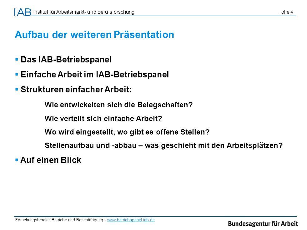 Institut für Arbeitsmarkt- und Berufsforschung Folie 4 Forschungsbereich Betriebe und Beschäftigung – www.betriebspanel.iab.de Aufbau der weiteren Prä