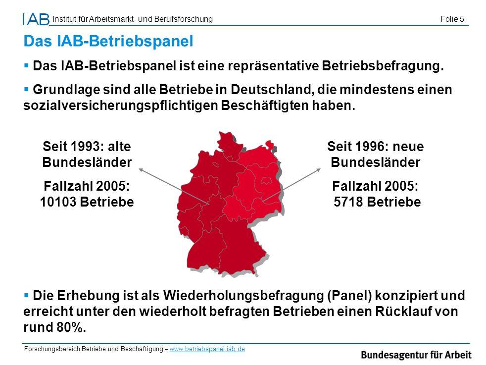 Institut für Arbeitsmarkt- und Berufsforschung Folie 5 Forschungsbereich Betriebe und Beschäftigung – www.betriebspanel.iab.de Das IAB-Betriebspanel D