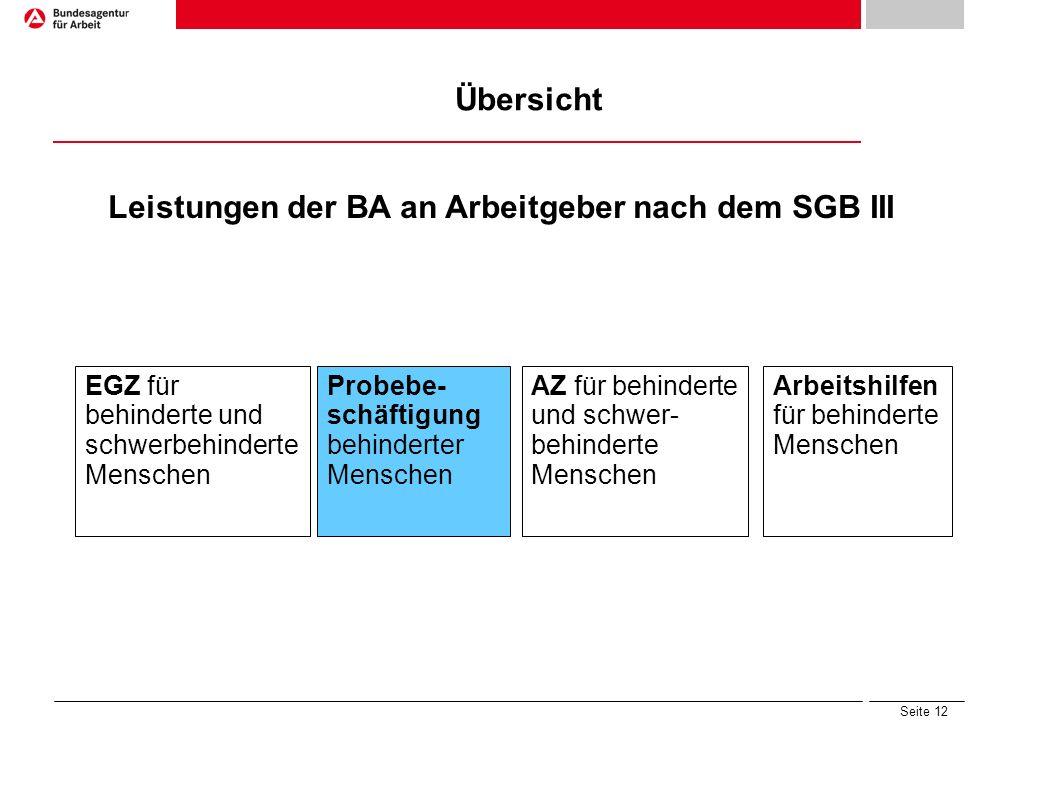 Seite 12 Übersicht Leistungen der BA an Arbeitgeber nach dem SGB III Arbeitshilfen für behinderte Menschen Probebe- schäftigung behinderter Menschen E