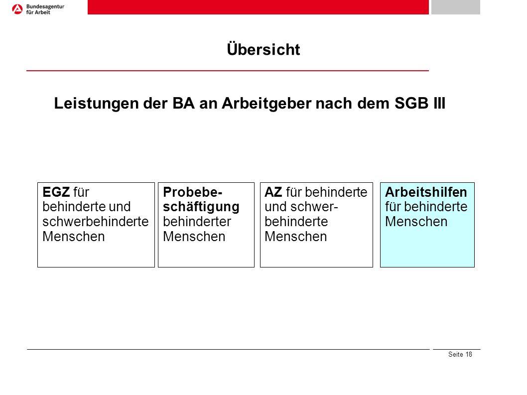 Seite 18 Übersicht Leistungen der BA an Arbeitgeber nach dem SGB III Arbeitshilfen für behinderte Menschen Probebe- schäftigung behinderter Menschen E