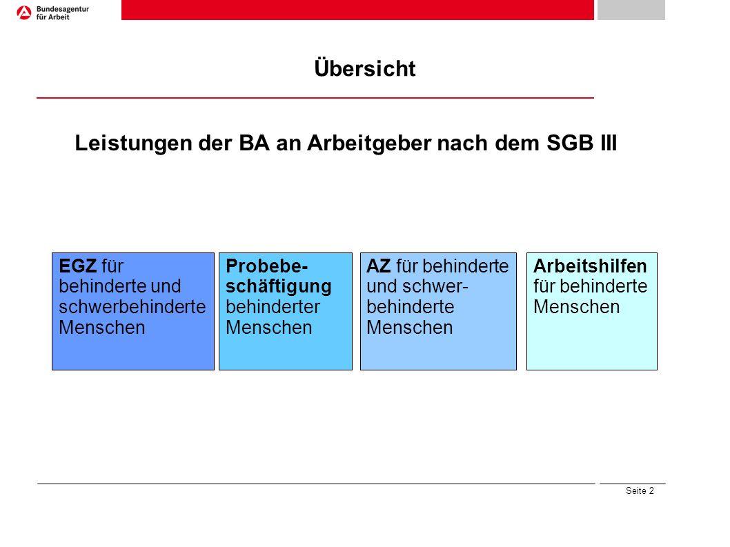 Seite 2 Übersicht Leistungen der BA an Arbeitgeber nach dem SGB III Arbeitshilfen für behinderte Menschen Probebe- schäftigung behinderter Menschen EG