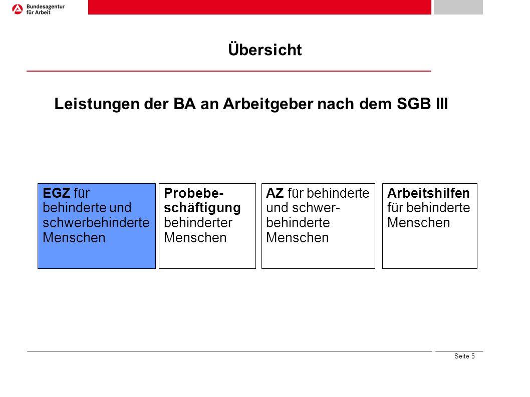 Seite 5 Übersicht Leistungen der BA an Arbeitgeber nach dem SGB III Arbeitshilfen für behinderte Menschen Probebe- schäftigung behinderter Menschen EG