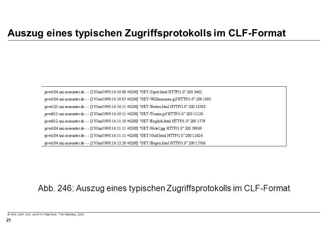 © Heinz Lothar Grob, Jan-Armin Reepmeyer, Frank Bensberg (2004) 25 Auszug eines typischen Zugriffsprotokolls im CLF-Format Abb. 246: Auszug eines typi