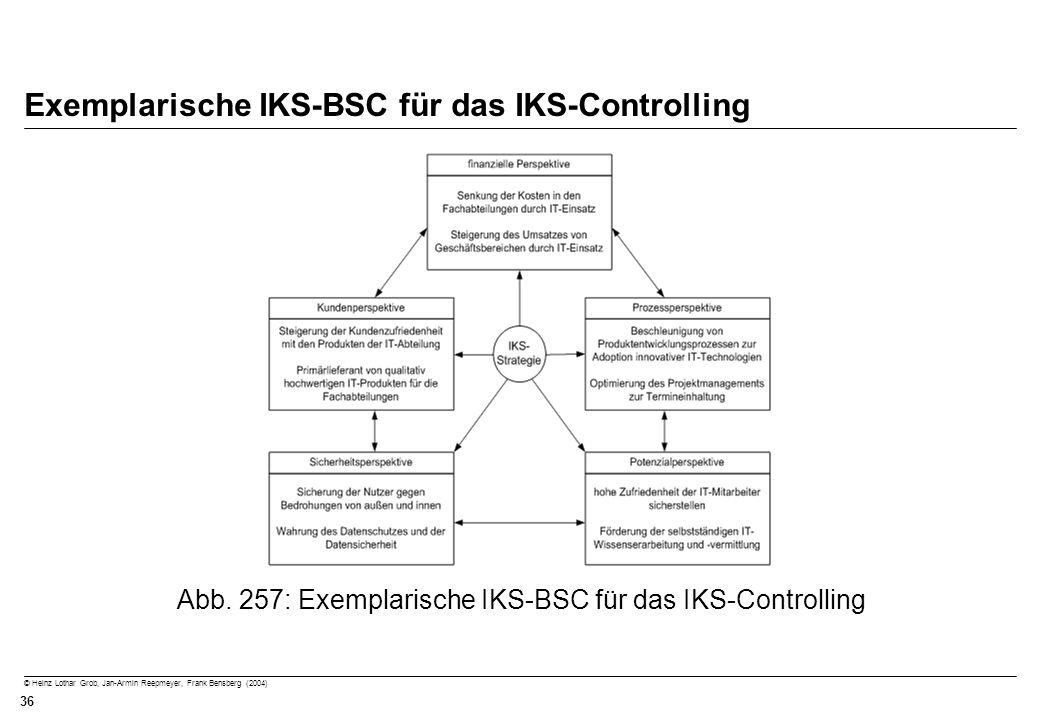 © Heinz Lothar Grob, Jan-Armin Reepmeyer, Frank Bensberg (2004) 36 Exemplarische IKS-BSC für das IKS-Controlling Abb. 257: Exemplarische IKS-BSC für d