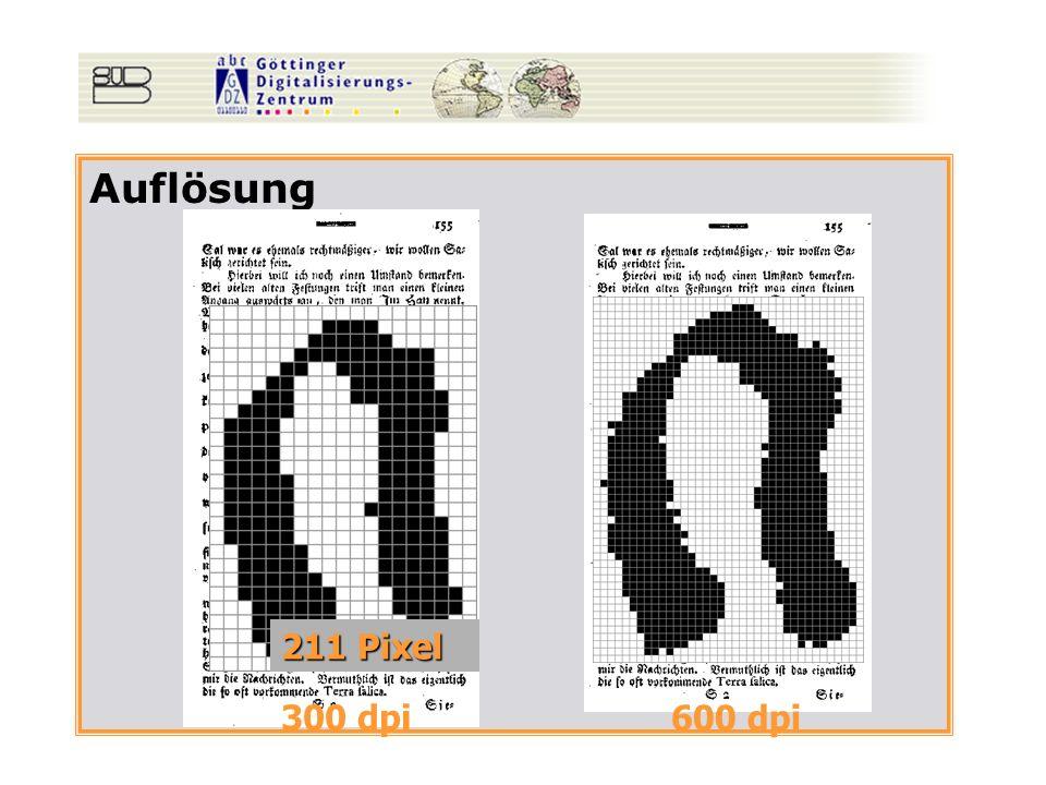Auflösung 300 dpi 600 dpi 211 Pixel