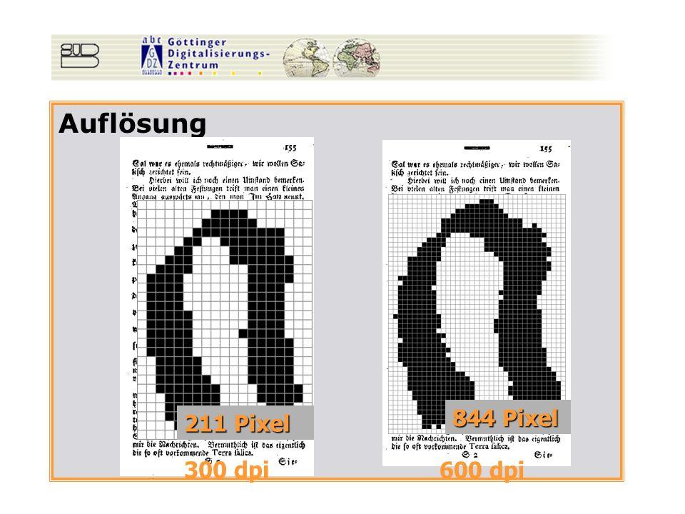 Auflösung 300 dpi 600 dpi 211 Pixel 844 Pixel