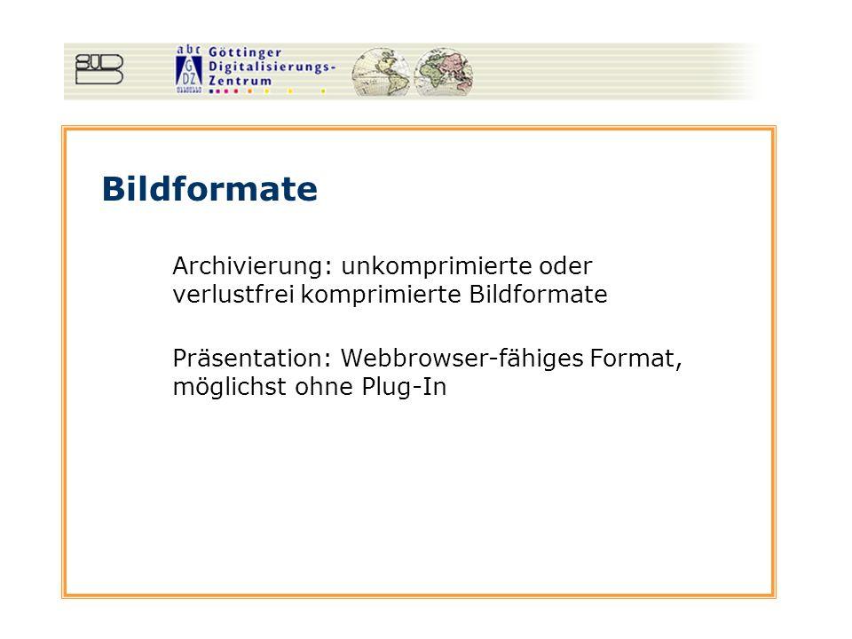 Bildformate Archivierung: unkomprimierte oder verlustfrei komprimierte Bildformate Präsentation: Webbrowser-fähiges Format, möglichst ohne Plug-In