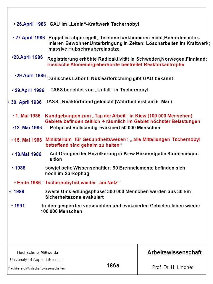 Hochschule Mittweida University of Applied Sciences Fachbereich Wirtschaftswissenschaften Arbeitswissenschaft Prof. Dr. H. Lindner 189a