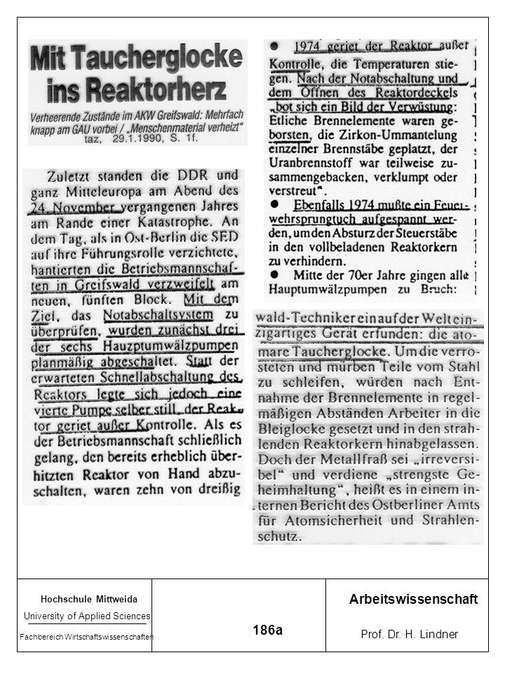 Hochschule Mittweida University of Applied Sciences Fachbereich Wirtschaftswissenschaften Arbeitswissenschaft Prof. Dr. H. Lindner 186a 26.April 1986