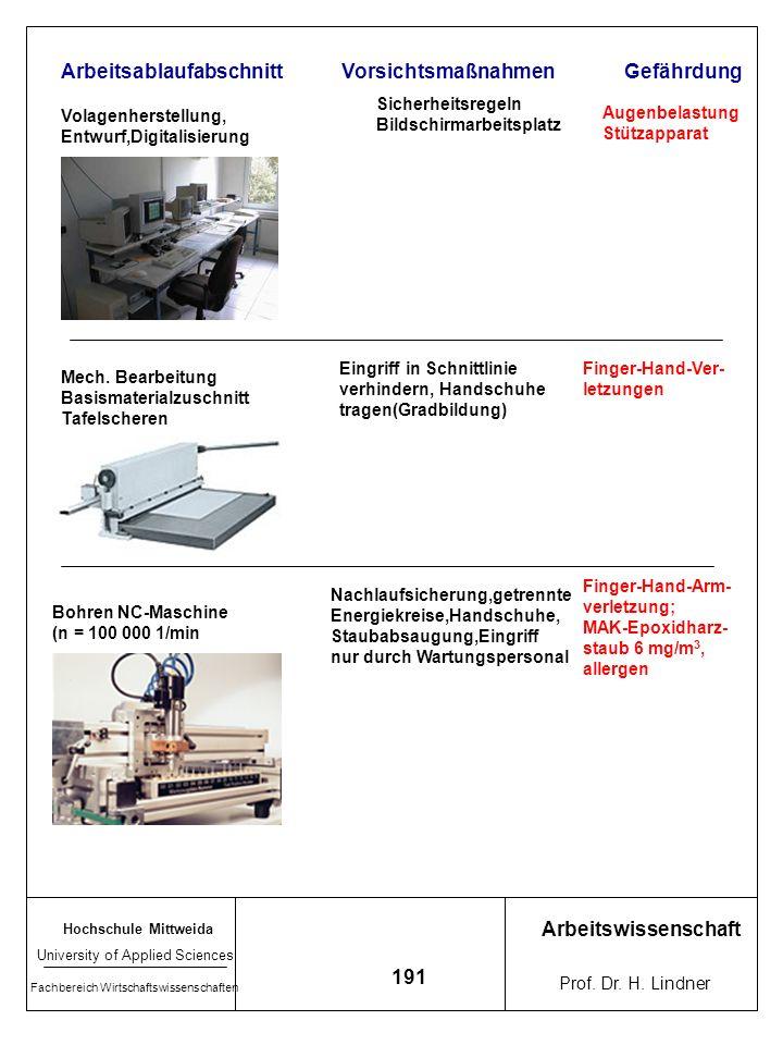 Hochschule Mittweida University of Applied Sciences Fachbereich Wirtschaftswissenschaften Arbeitswissenschaft Prof. Dr. H. Lindner 190 7.3 Sichheitsan