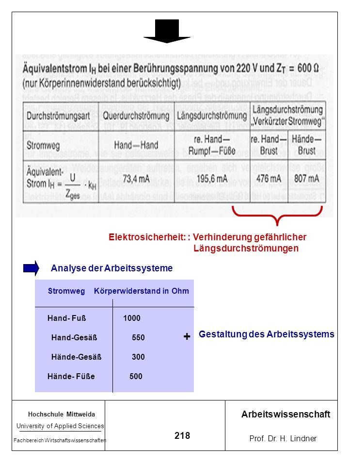 Hochschule Mittweida University of Applied Sciences Fachbereich Wirtschaftswissenschaften Arbeitswissenschaft Prof. Dr. H. Lindner 217 Zu Stromweg