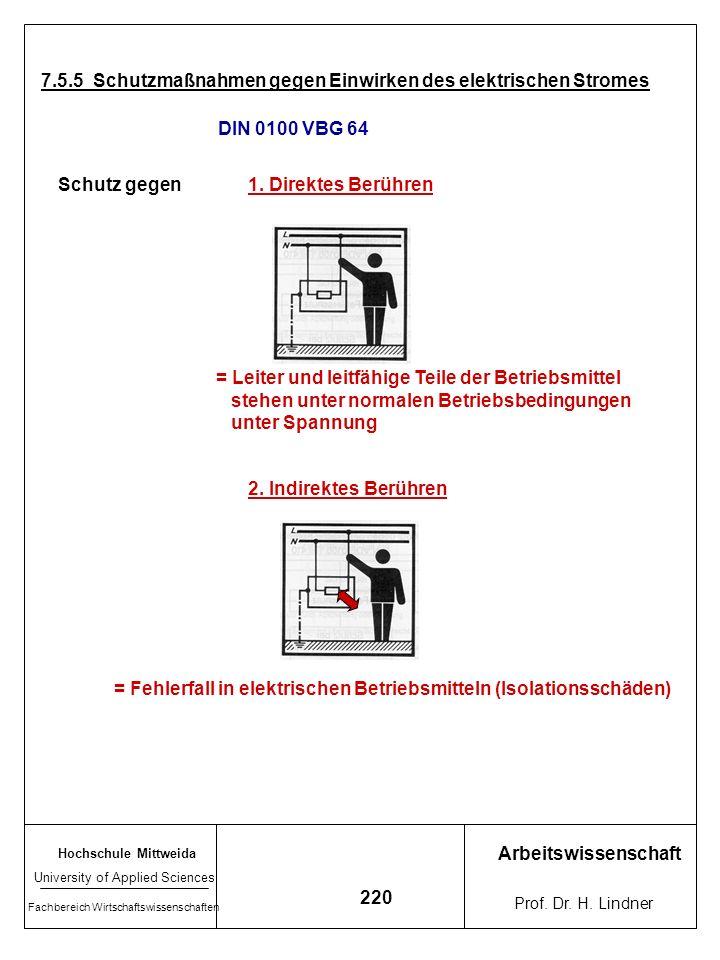 Hochschule Mittweida University of Applied Sciences Fachbereich Wirtschaftswissenschaften Arbeitswissenschaft Prof. Dr. H. Lindner 219 Zu Einwirkungsd