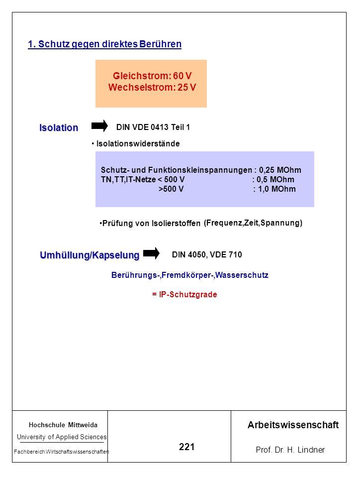 Hochschule Mittweida University of Applied Sciences Fachbereich Wirtschaftswissenschaften Arbeitswissenschaft Prof. Dr. H. Lindner 220 7.5.5 Schutzmaß