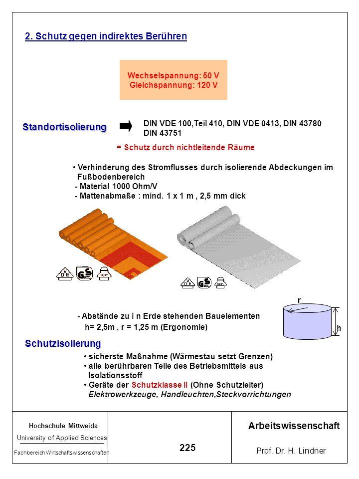 Hochschule Mittweida University of Applied Sciences Fachbereich Wirtschaftswissenschaften Arbeitswissenschaft Prof. Dr. H. Lindner 224 Sicherheitsabst