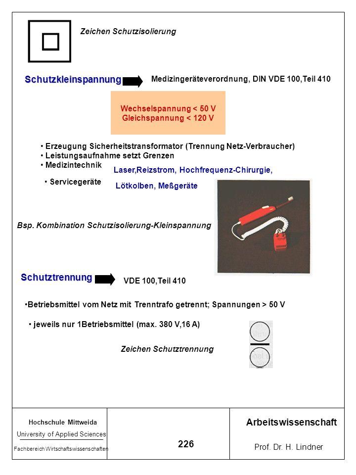 Hochschule Mittweida University of Applied Sciences Fachbereich Wirtschaftswissenschaften Arbeitswissenschaft Prof. Dr. H. Lindner 225 2. Schutz gegen