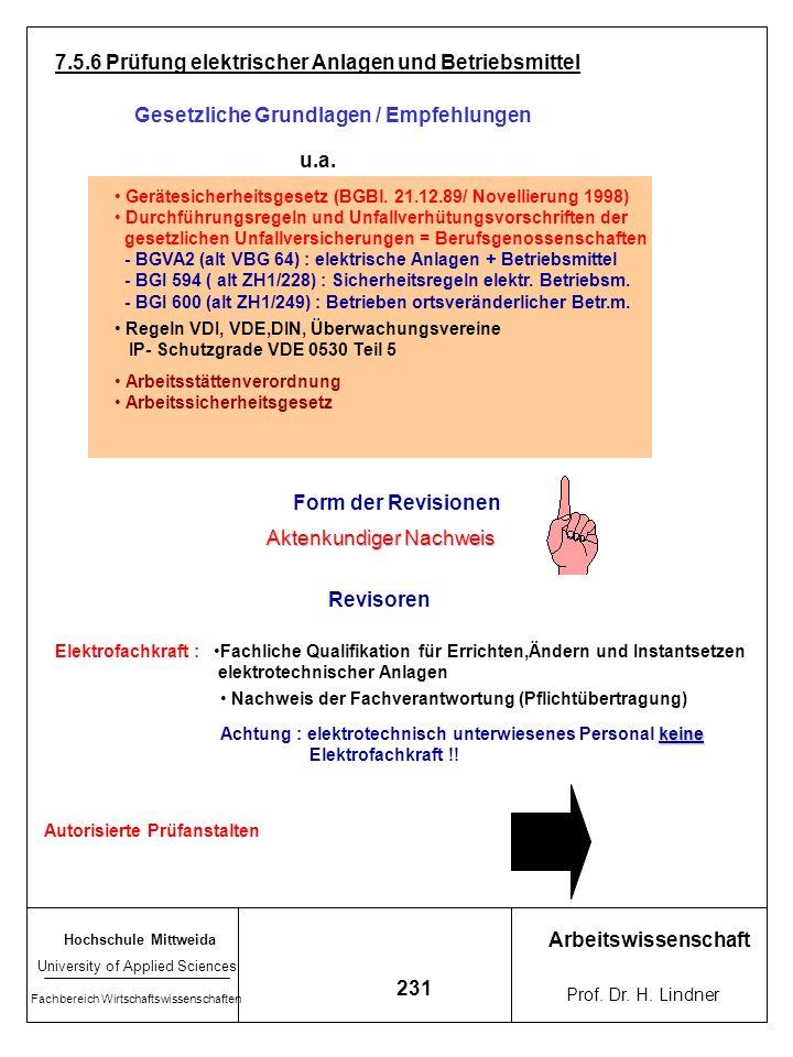 Hochschule Mittweida University of Applied Sciences Fachbereich Wirtschaftswissenschaften Arbeitswissenschaft Prof. Dr. H. Lindner 230 Integriert in V