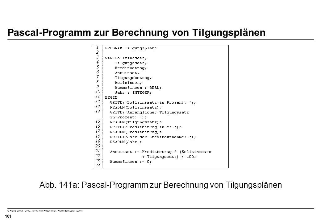 © Heinz Lothar Grob, Jan-Armin Reepmeyer, Frank Bensberg (2004) 101 Pascal-Programm zur Berechnung von Tilgungsplänen Abb. 141a: Pascal-Programm zur B