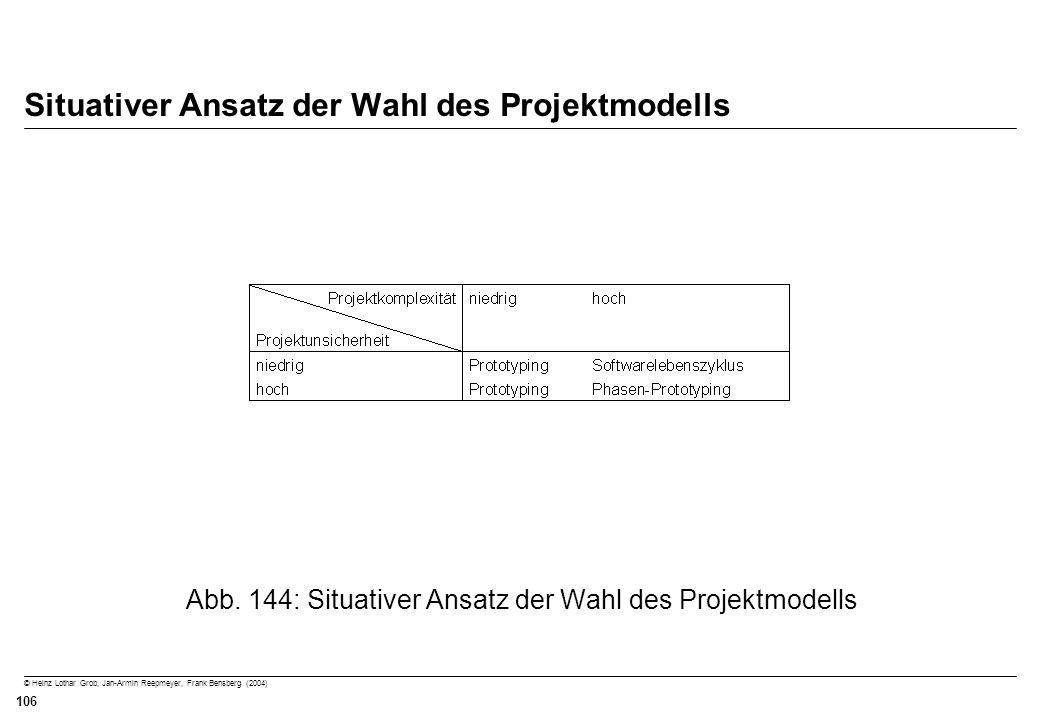 © Heinz Lothar Grob, Jan-Armin Reepmeyer, Frank Bensberg (2004) 106 Situativer Ansatz der Wahl des Projektmodells Abb. 144: Situativer Ansatz der Wahl