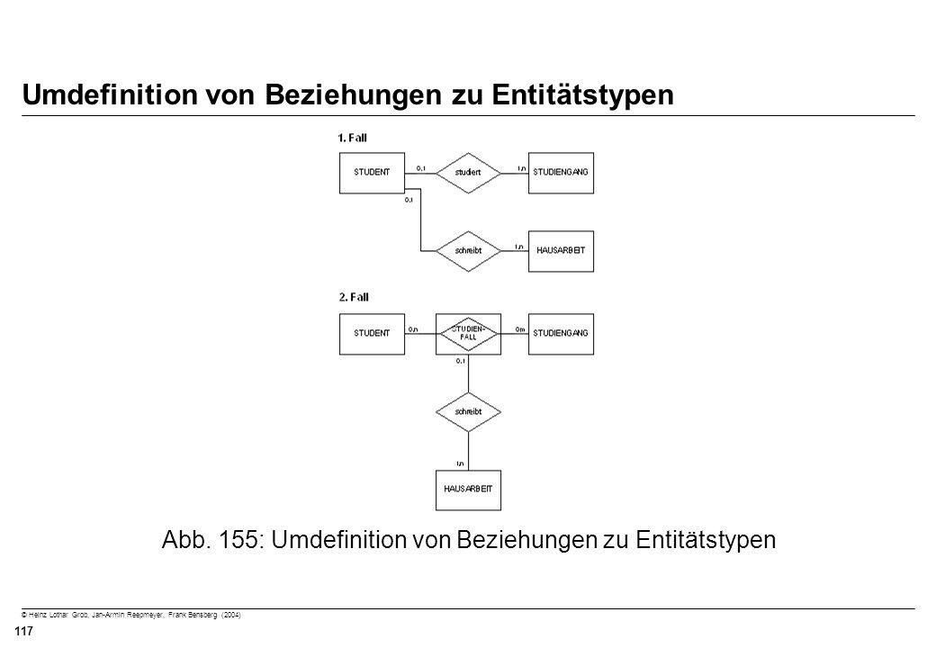© Heinz Lothar Grob, Jan-Armin Reepmeyer, Frank Bensberg (2004) 117 Umdefinition von Beziehungen zu Entitätstypen Abb. 155: Umdefinition von Beziehung