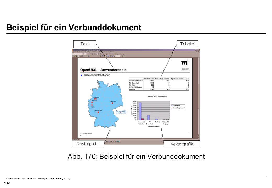 © Heinz Lothar Grob, Jan-Armin Reepmeyer, Frank Bensberg (2004) 132 Beispiel für ein Verbunddokument Abb. 170: Beispiel für ein Verbunddokument