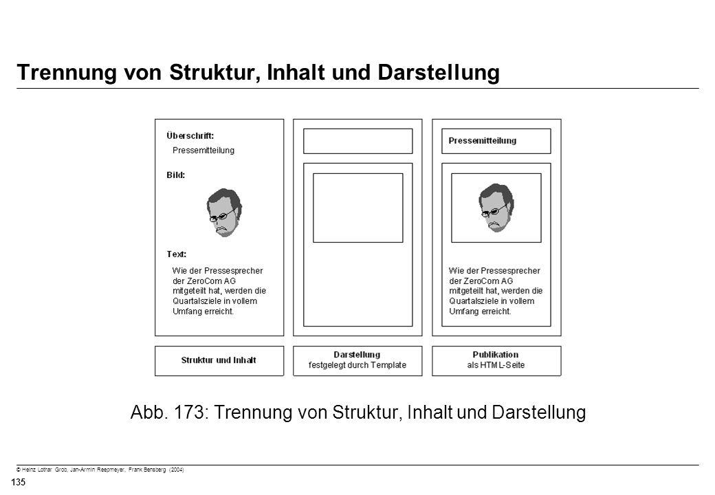 © Heinz Lothar Grob, Jan-Armin Reepmeyer, Frank Bensberg (2004) 135 Trennung von Struktur, Inhalt und Darstellung Abb. 173: Trennung von Struktur, Inh