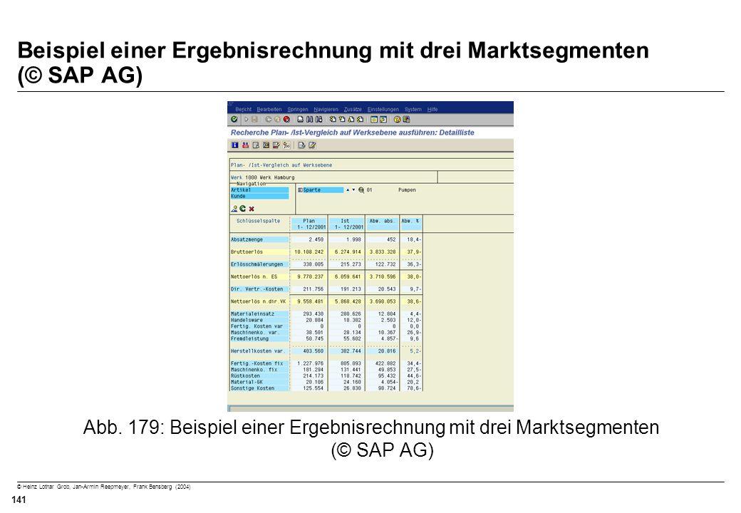© Heinz Lothar Grob, Jan-Armin Reepmeyer, Frank Bensberg (2004) 141 Beispiel einer Ergebnisrechnung mit drei Marktsegmenten (© SAP AG) Abb. 179: Beisp
