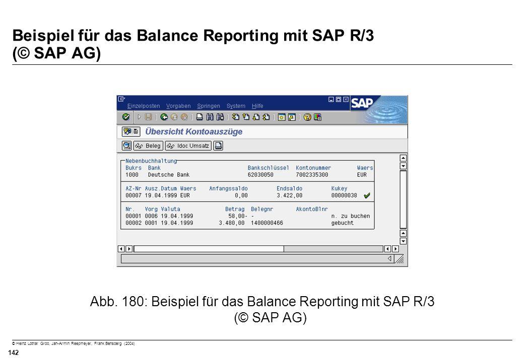© Heinz Lothar Grob, Jan-Armin Reepmeyer, Frank Bensberg (2004) 142 Beispiel für das Balance Reporting mit SAP R/3 (© SAP AG) Abb. 180: Beispiel für d