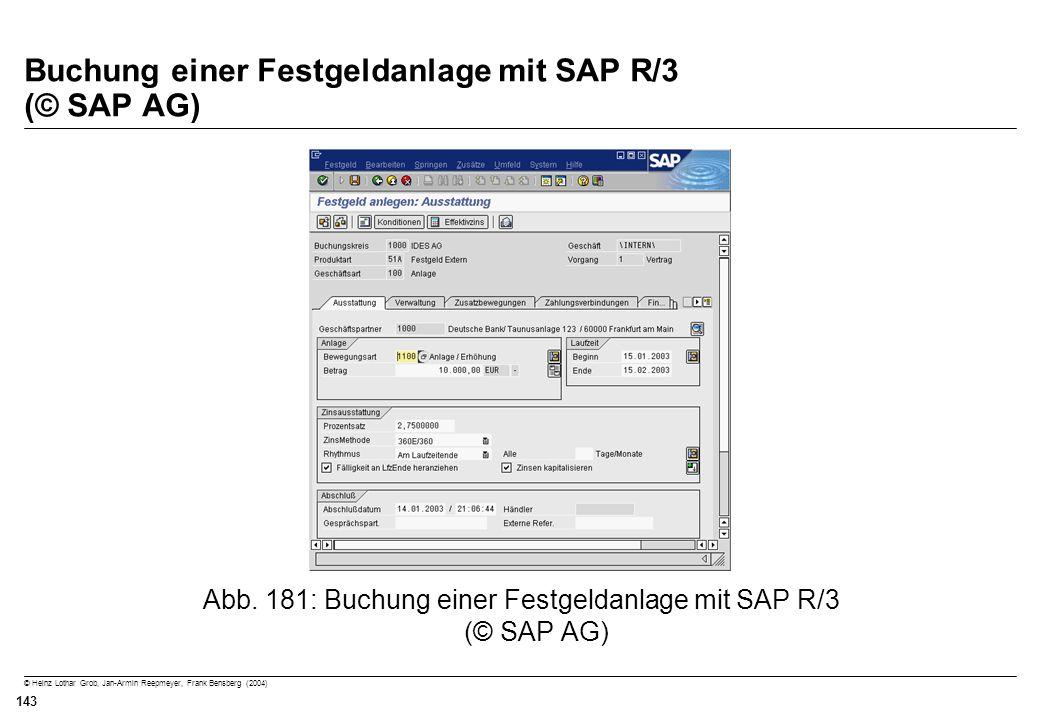 © Heinz Lothar Grob, Jan-Armin Reepmeyer, Frank Bensberg (2004) 143 Buchung einer Festgeldanlage mit SAP R/3 (© SAP AG) Abb. 181: Buchung einer Festge
