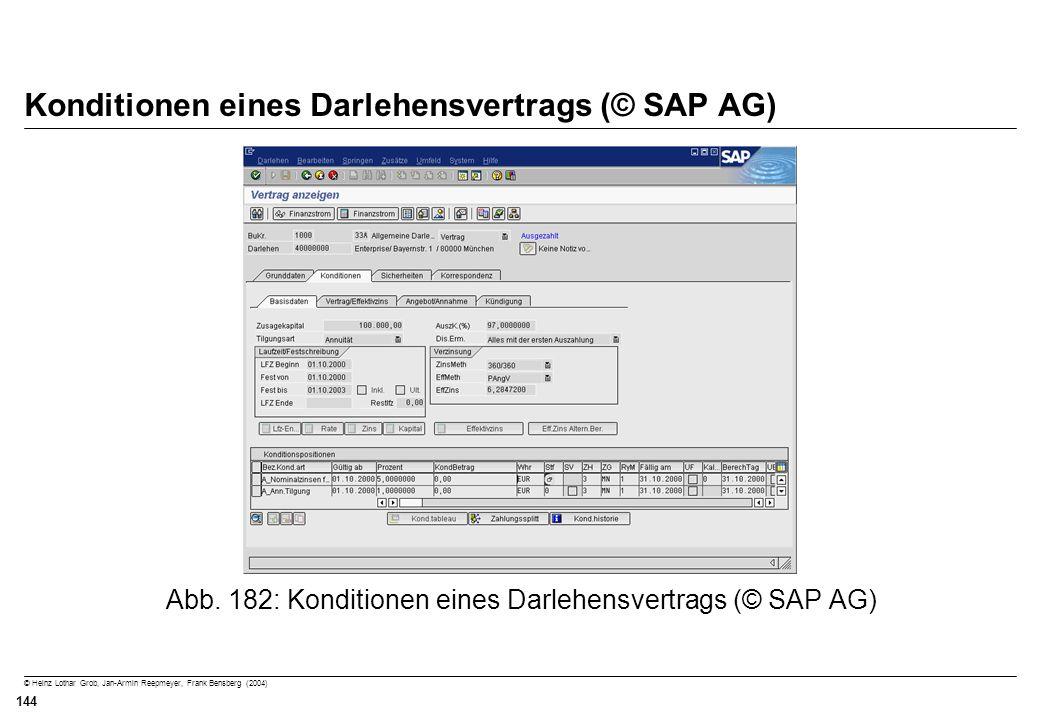 © Heinz Lothar Grob, Jan-Armin Reepmeyer, Frank Bensberg (2004) 144 Konditionen eines Darlehensvertrags (© SAP AG) Abb. 182: Konditionen eines Darlehe