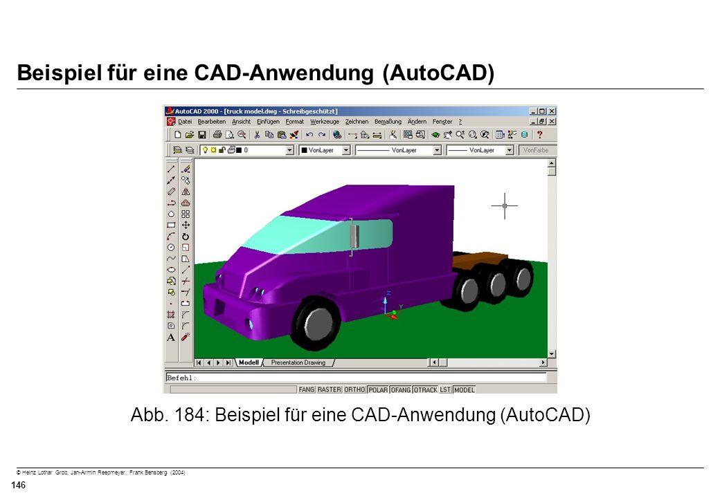 © Heinz Lothar Grob, Jan-Armin Reepmeyer, Frank Bensberg (2004) 146 Beispiel für eine CAD-Anwendung (AutoCAD) Abb. 184: Beispiel für eine CAD-Anwendun