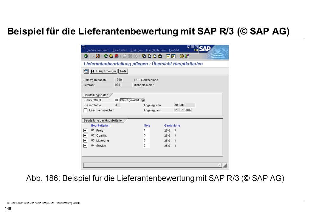 © Heinz Lothar Grob, Jan-Armin Reepmeyer, Frank Bensberg (2004) 148 Beispiel für die Lieferantenbewertung mit SAP R/3 (© SAP AG) Abb. 186: Beispiel fü