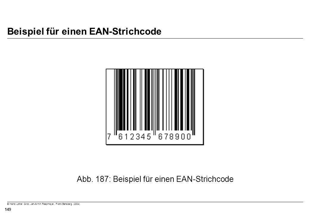 © Heinz Lothar Grob, Jan-Armin Reepmeyer, Frank Bensberg (2004) 149 Beispiel für einen EAN-Strichcode Abb. 187: Beispiel für einen EAN-Strichcode