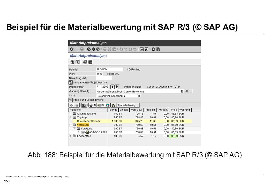 © Heinz Lothar Grob, Jan-Armin Reepmeyer, Frank Bensberg (2004) 150 Beispiel für die Materialbewertung mit SAP R/3 (© SAP AG) Abb. 188: Beispiel für d