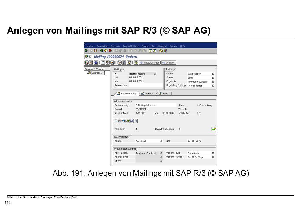© Heinz Lothar Grob, Jan-Armin Reepmeyer, Frank Bensberg (2004) 153 Anlegen von Mailings mit SAP R/3 (© SAP AG) Abb. 191: Anlegen von Mailings mit SAP