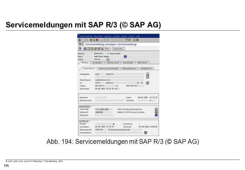 © Heinz Lothar Grob, Jan-Armin Reepmeyer, Frank Bensberg (2004) 156 Servicemeldungen mit SAP R/3 (© SAP AG) Abb. 194: Servicemeldungen mit SAP R/3 (©