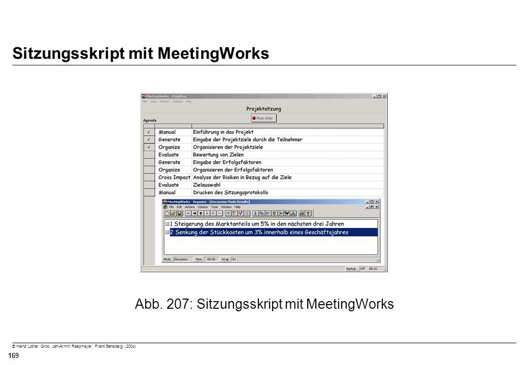 © Heinz Lothar Grob, Jan-Armin Reepmeyer, Frank Bensberg (2004) 169 Sitzungsskript mit MeetingWorks Abb. 207: Sitzungsskript mit MeetingWorks