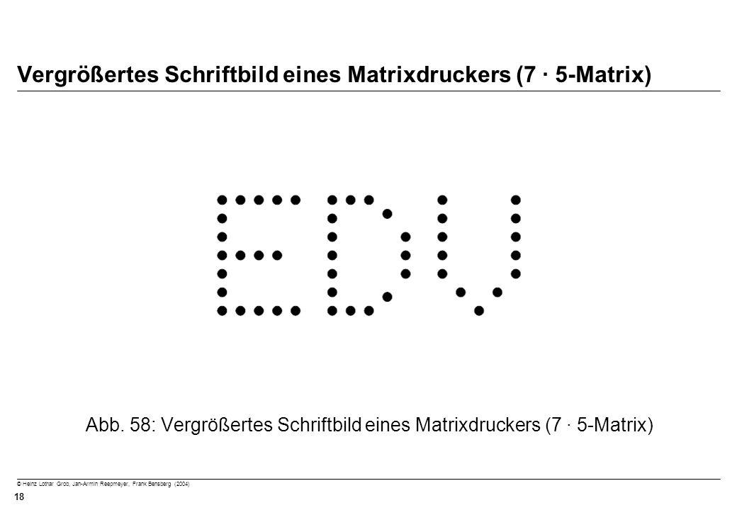 © Heinz Lothar Grob, Jan-Armin Reepmeyer, Frank Bensberg (2004) 18 Vergrößertes Schriftbild eines Matrixdruckers (7 · 5-Matrix) Abb. 58: Vergrößertes