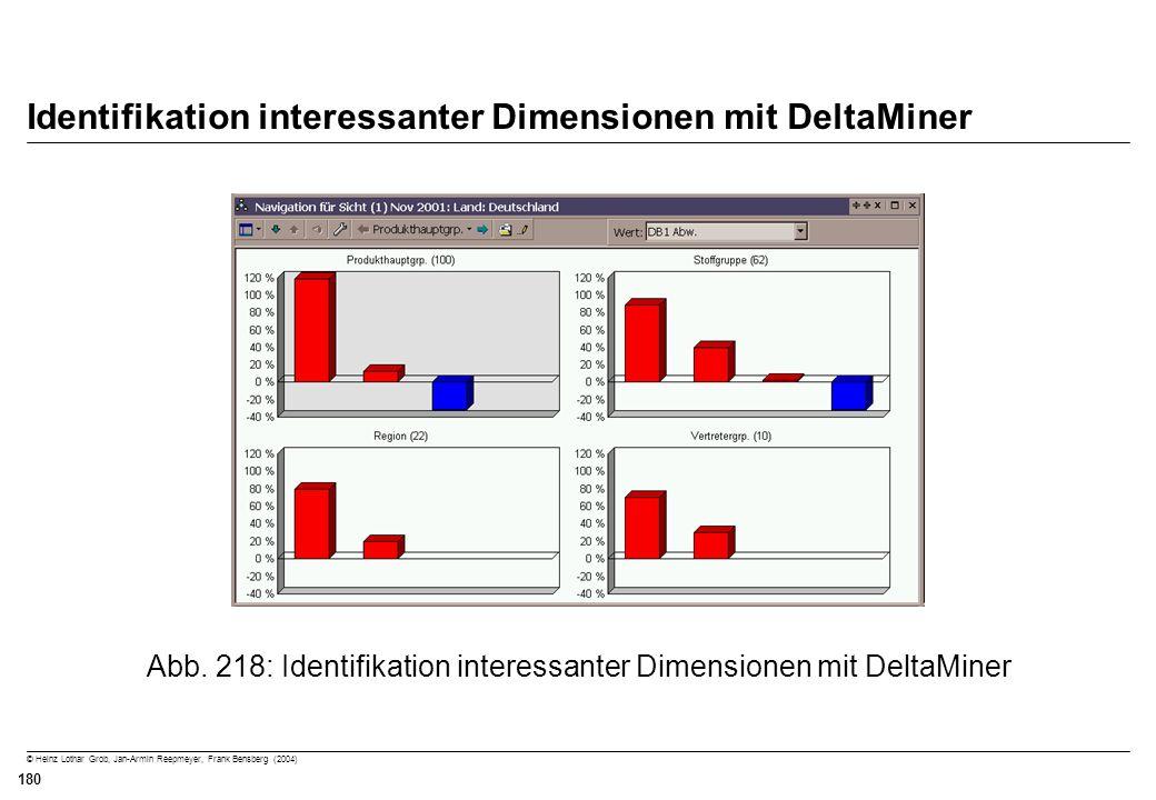 © Heinz Lothar Grob, Jan-Armin Reepmeyer, Frank Bensberg (2004) 180 Identifikation interessanter Dimensionen mit DeltaMiner Abb. 218: Identifikation i